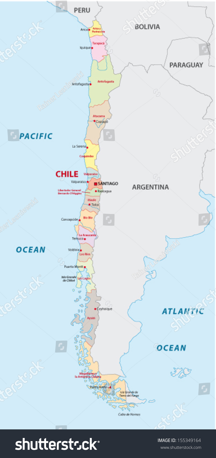 Chile Administrative Map Stock Vector 155349164 Shutterstock