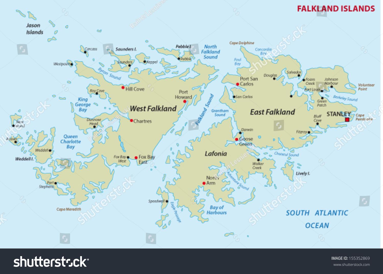 Falkland Islands Map Stock Vector Shutterstock - Falkland islands map