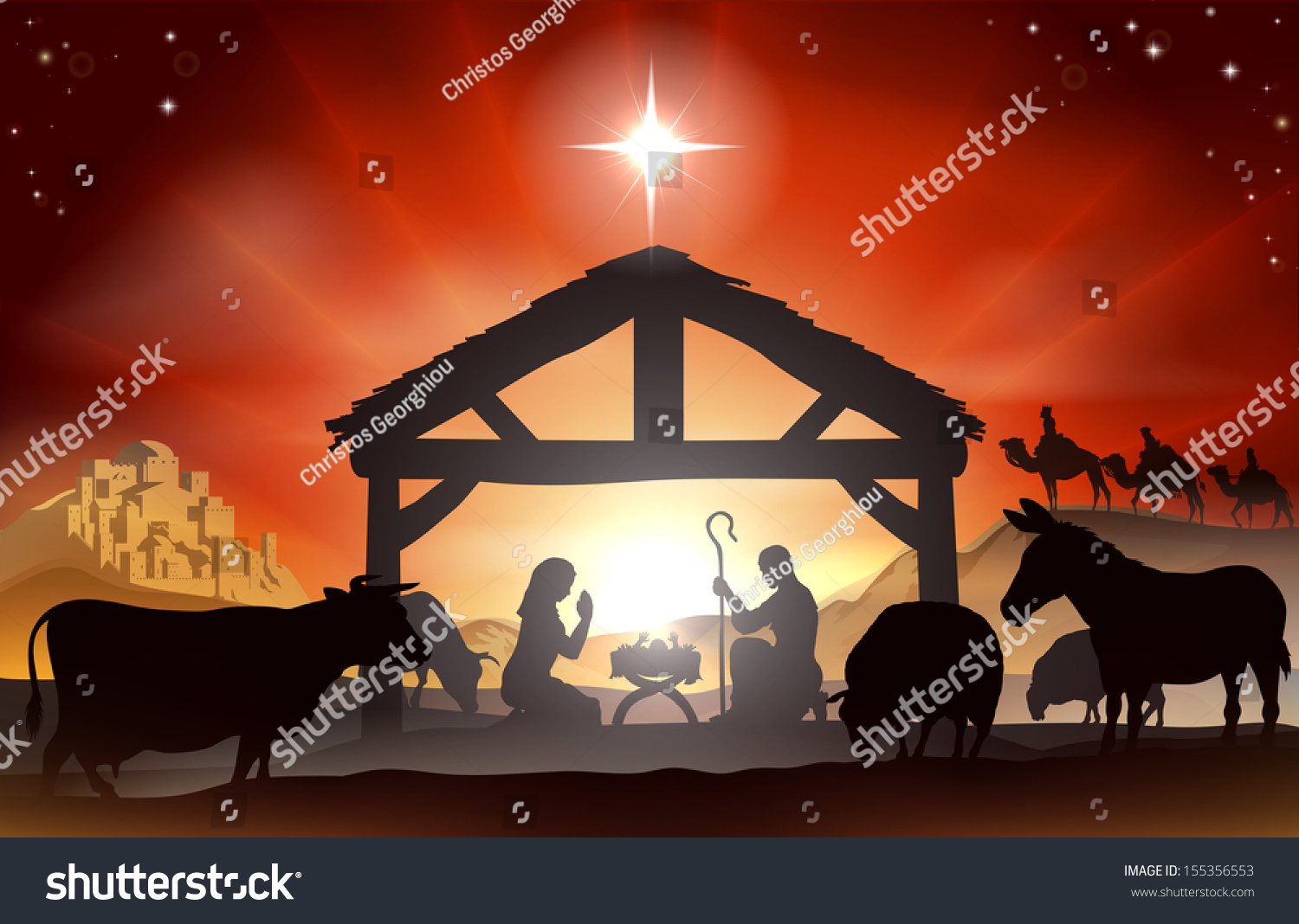 Christmas Christian Nativity Scene Baby Jesus Stock Vector (Royalty ...