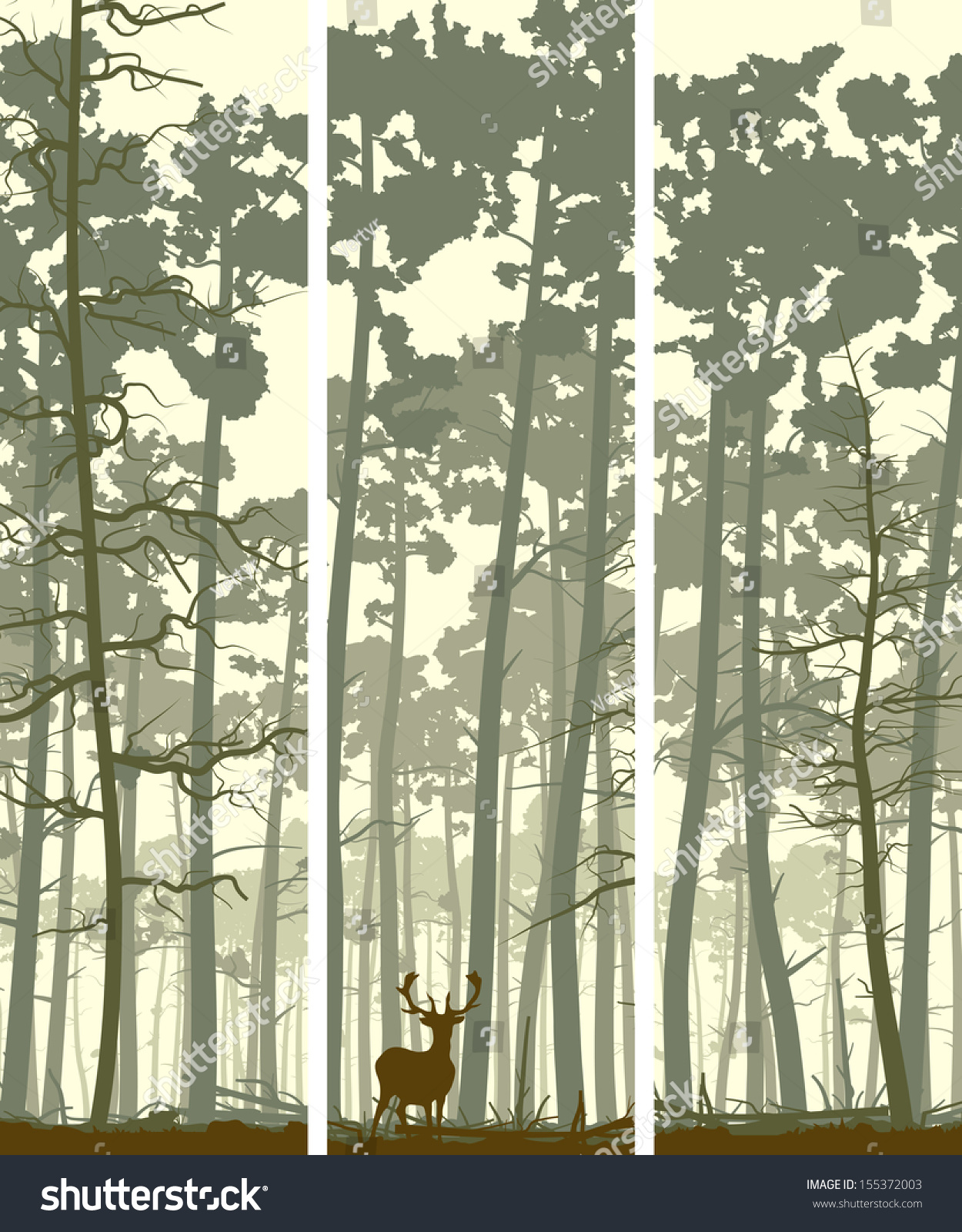 vertical abstract banners wild deer forest stock vector royalty