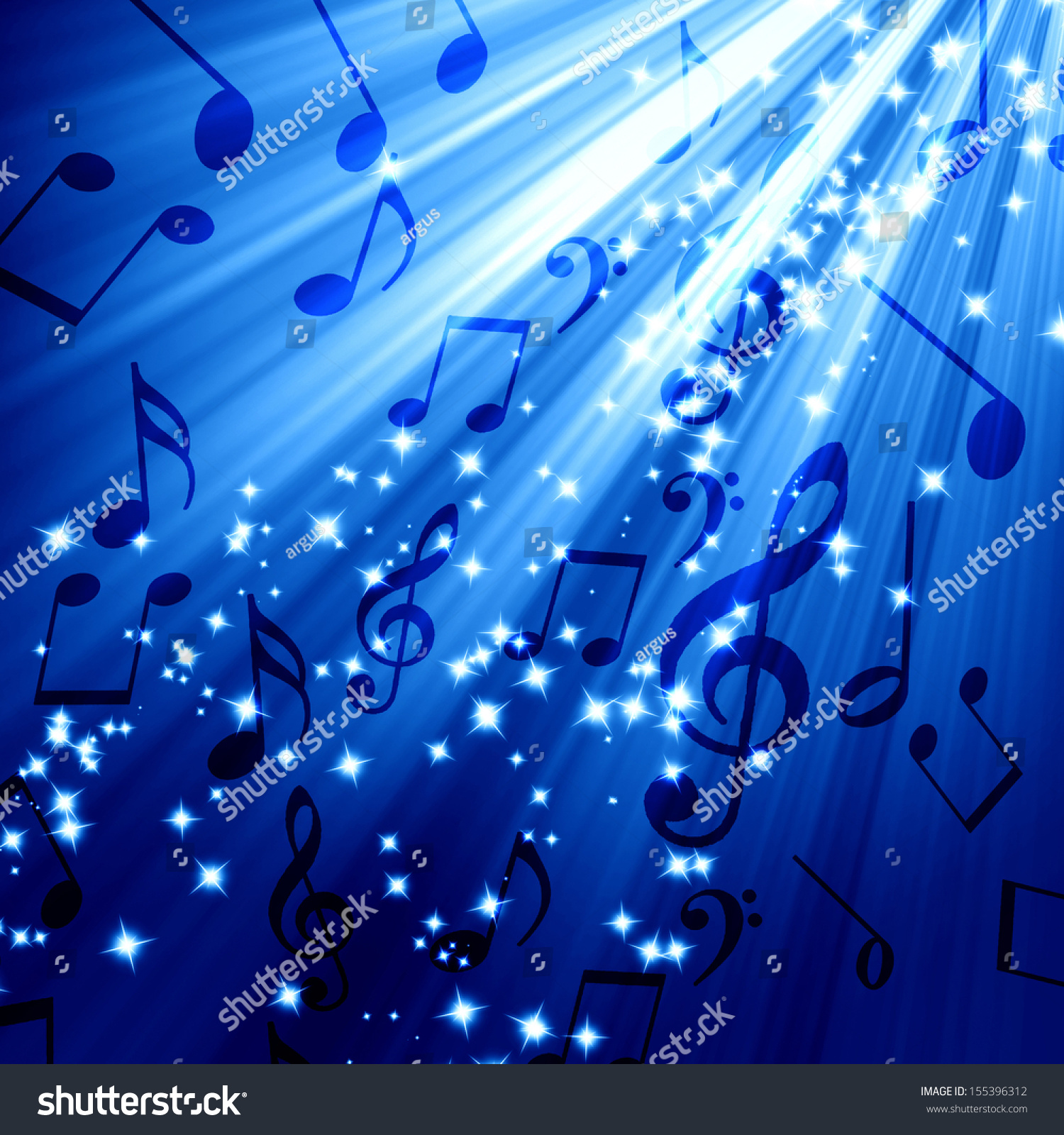 soft blue background some music notes stock illustration