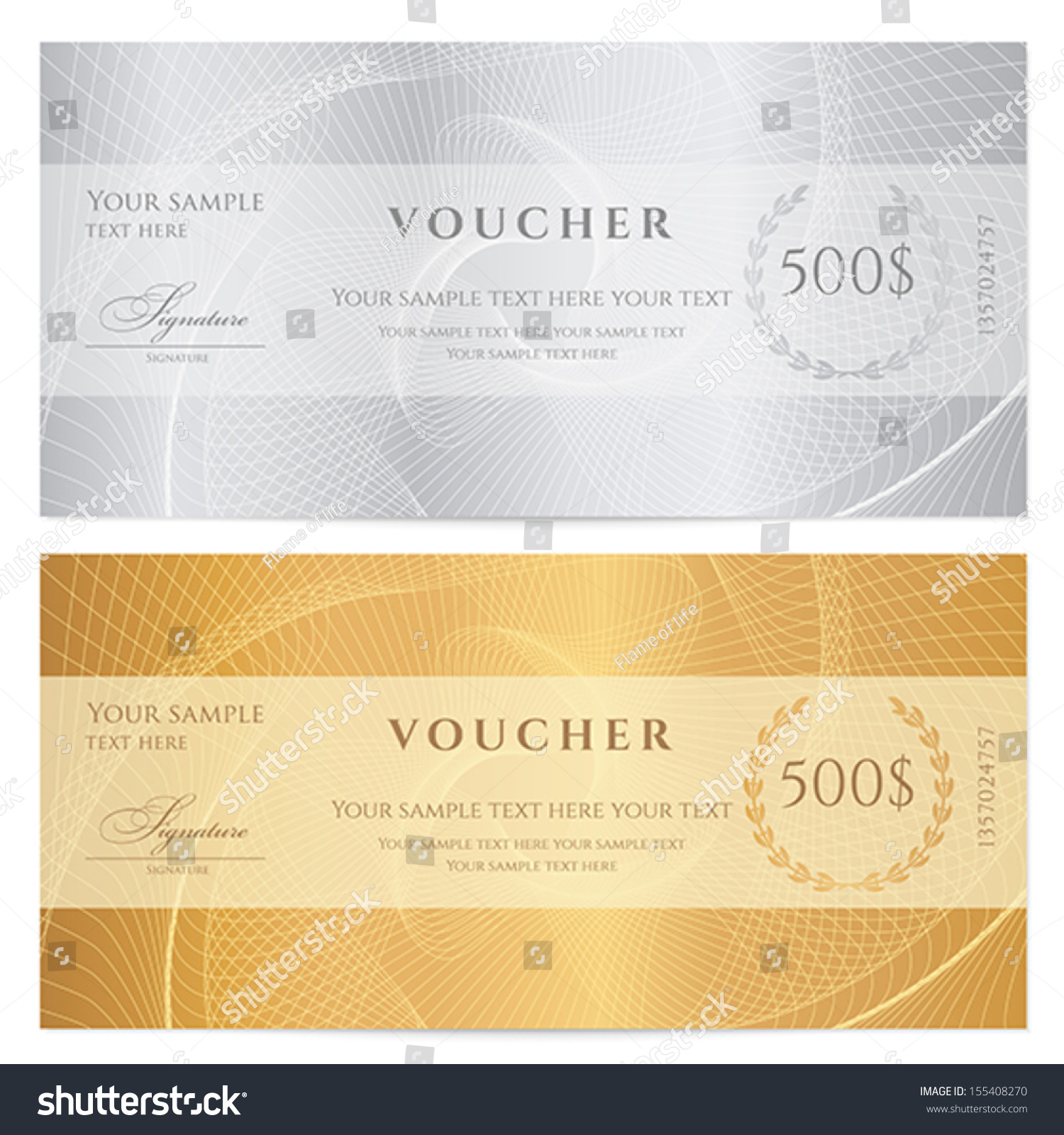 Voucher Gift Certificate Coupon Ticket Template Vector – Check Voucher Template