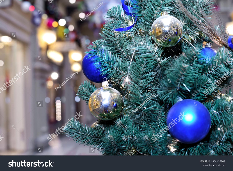 Gold Blue Christmas Balls On Christmas Stock Photo Edit Now 1554106868