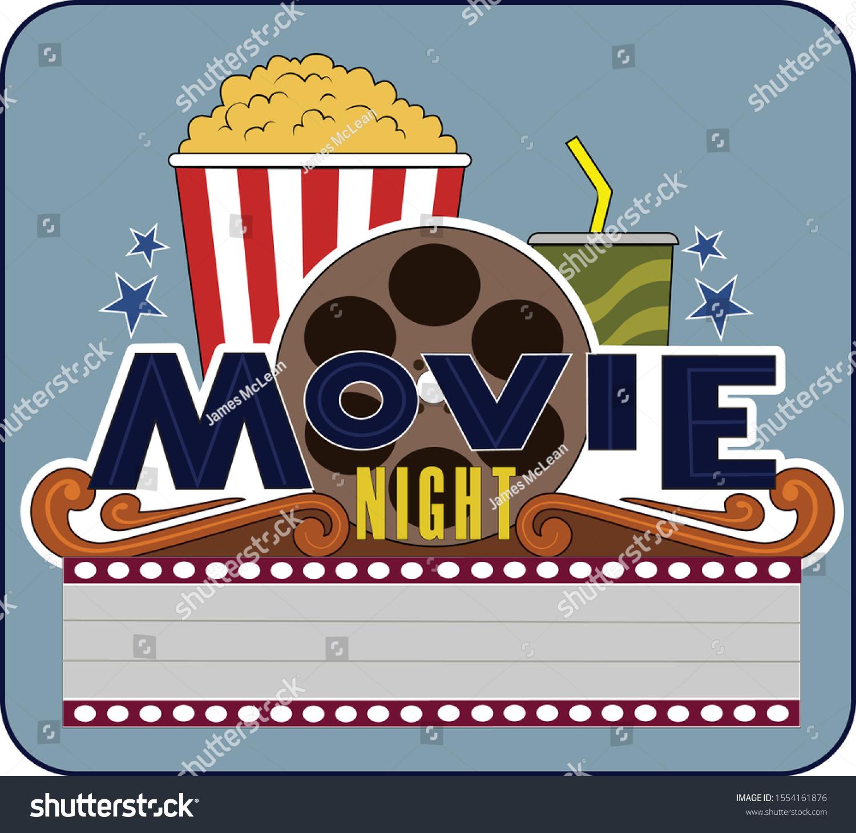 A logo design of a movie night announcement.