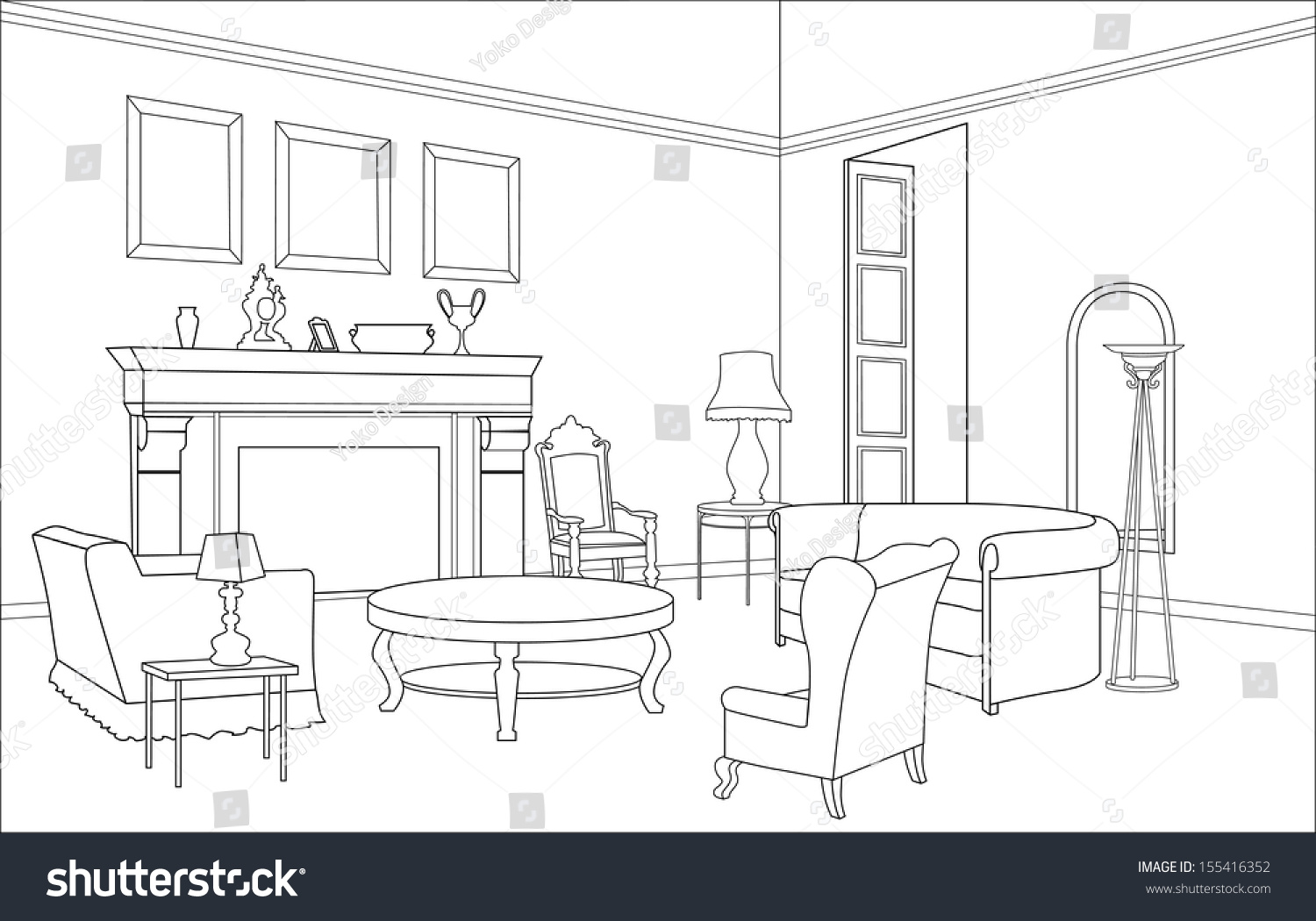 Drawing Room Editable Vector Illustration Of An Outline