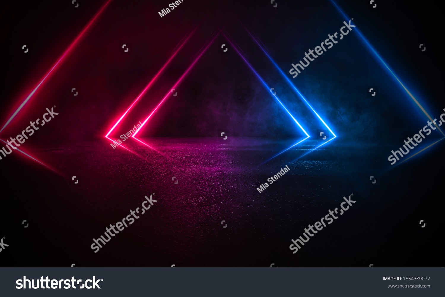 Empty background scene. Dark street reflection on the wet pavement. Rays neon light in the dark, neon figures, smoke. Night view of the street, the city. Abstract dark background. Abstract spotlight.  #1554389072