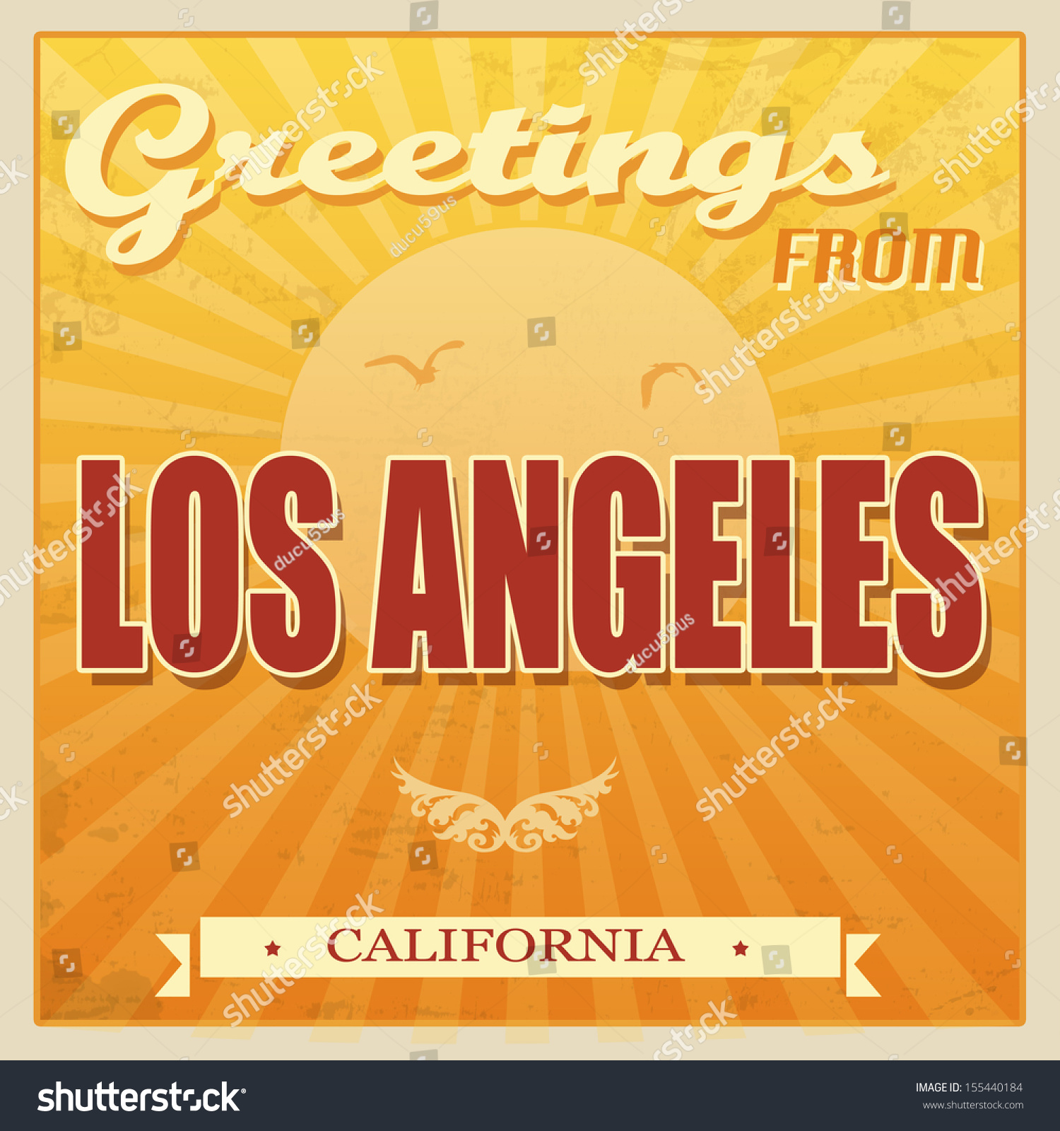 Vintage Touristic Greeting Card Los Angeles Stock Vector - Los angeles posters vintage