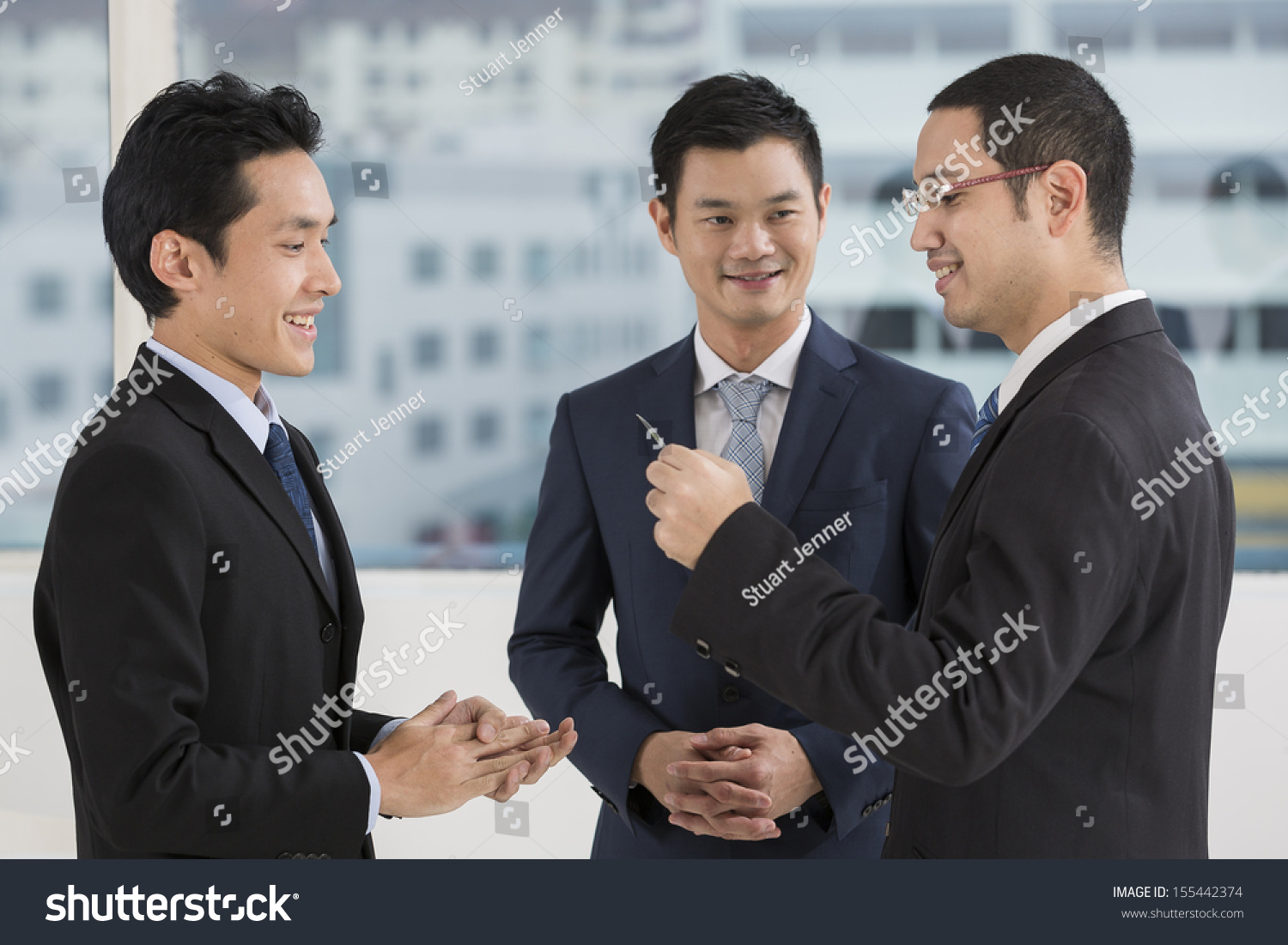 Two Business Men Exchanging Business Cards Stock Photo 155442374 ...