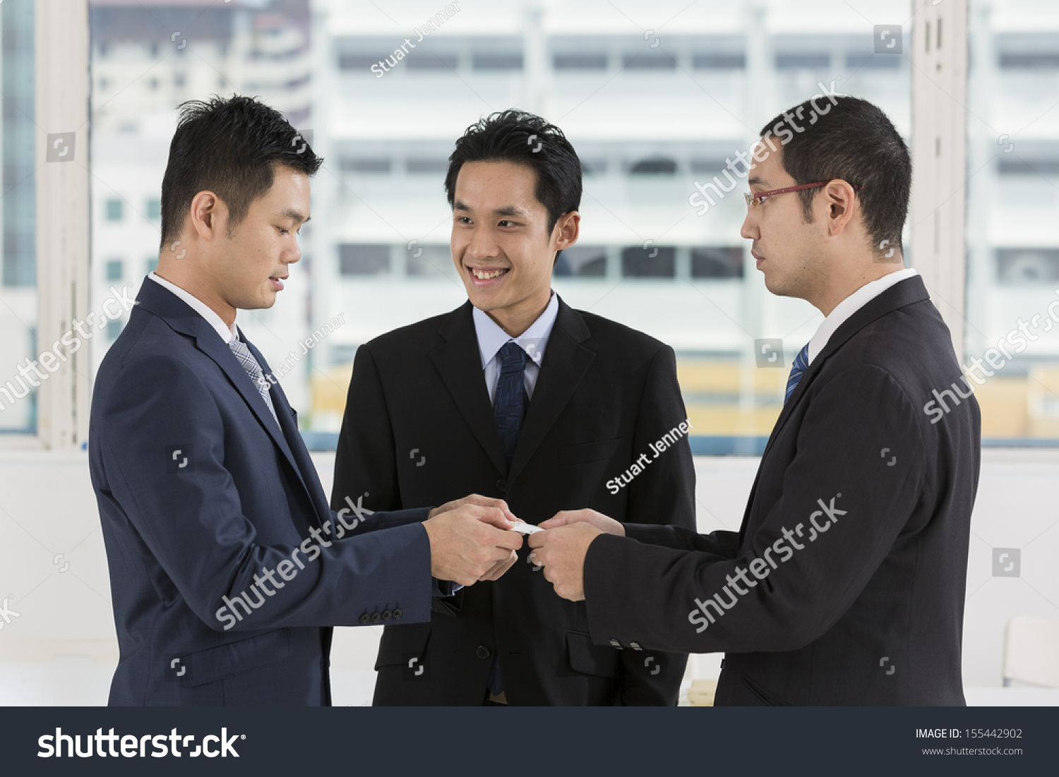 Two Business Men Exchanging Business Cards Stock Photo 155442902 ...