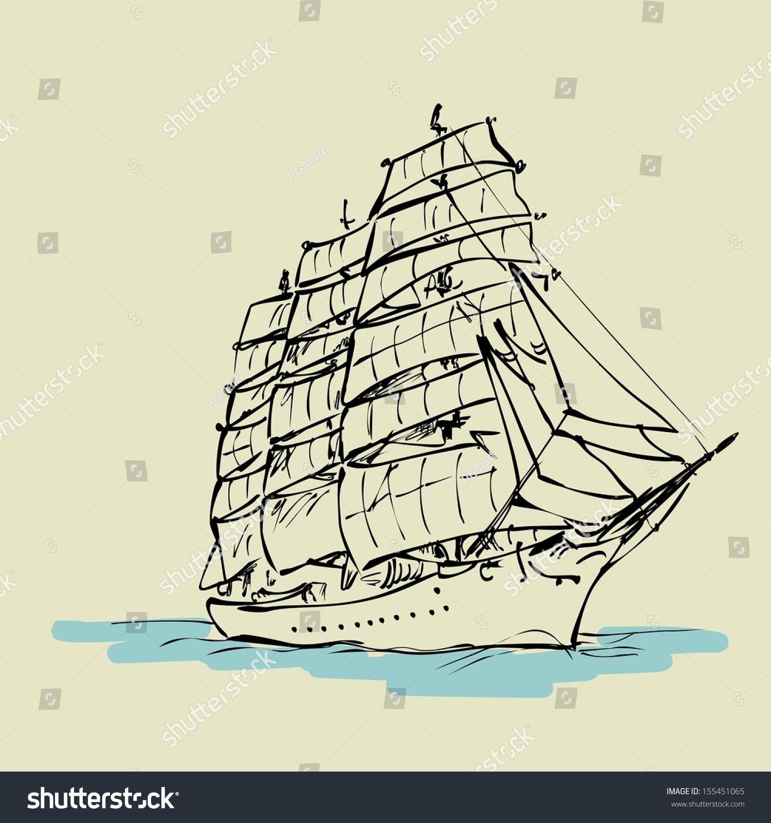 Sailing Boat Floats Full Sails Stock Illustration