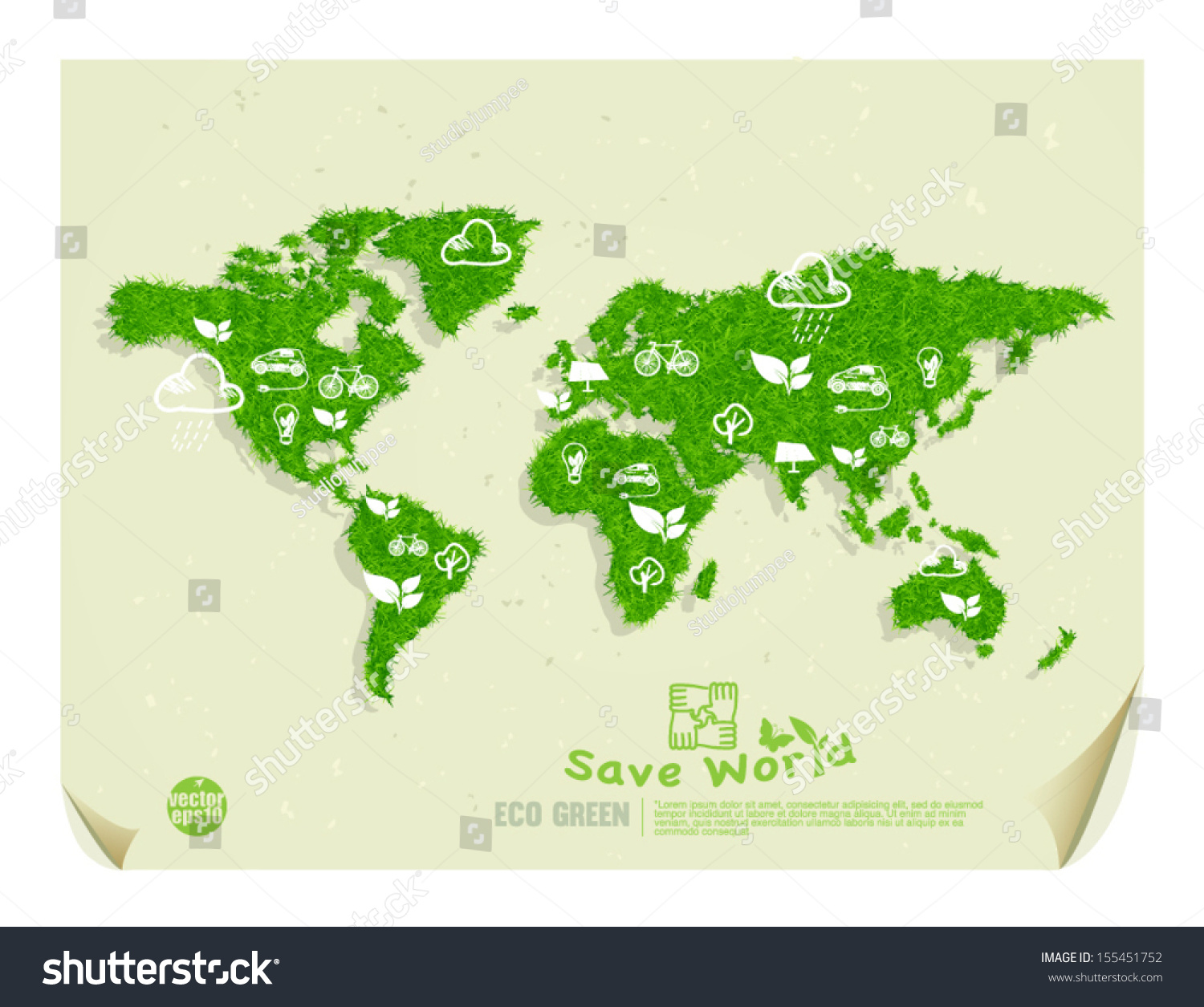Eco Green Save World Drawing Concept Stock Vector Royalty Free