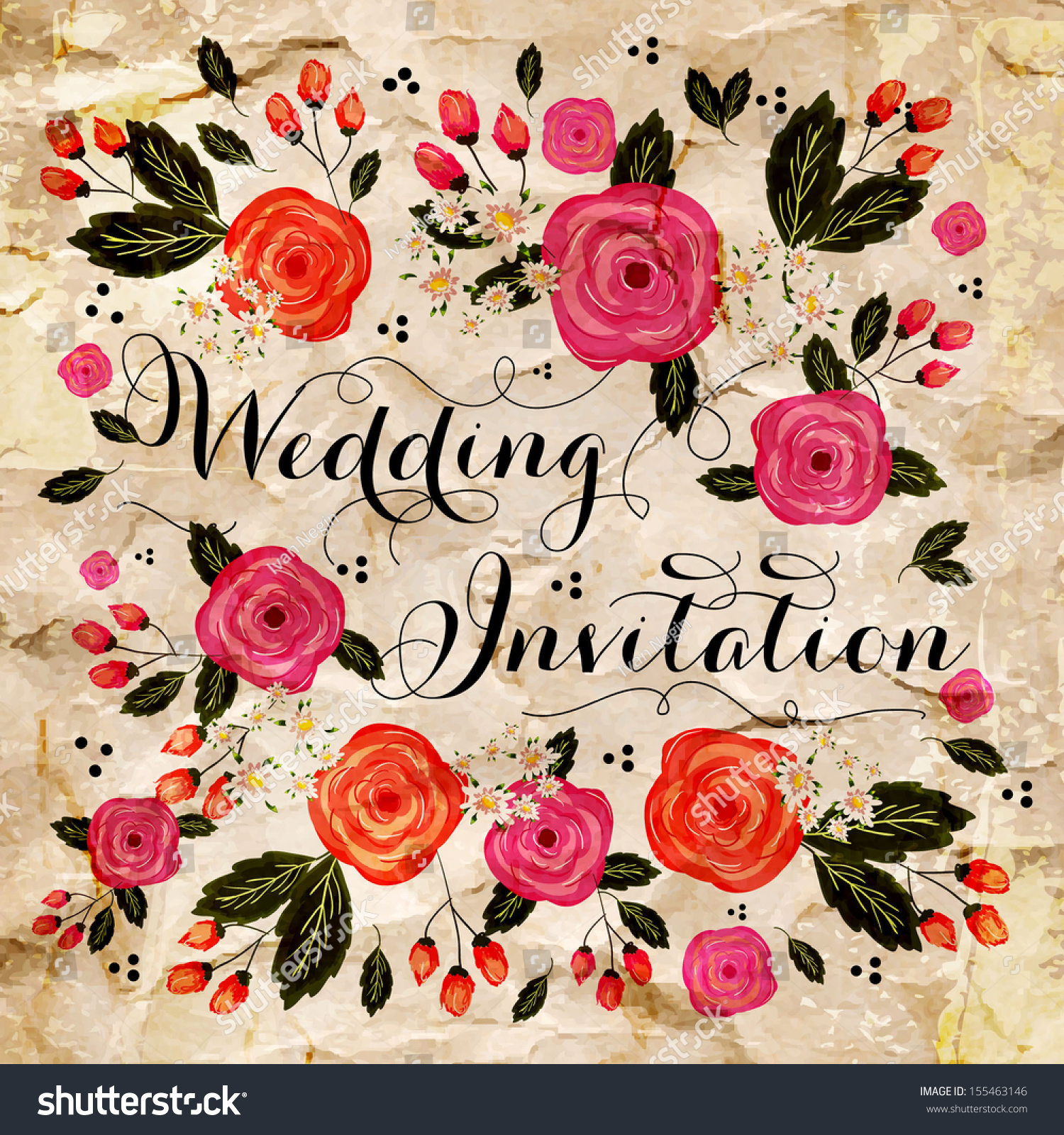 Wedding Invitation Card Stock Vector (Royalty Free) 155463146 ...