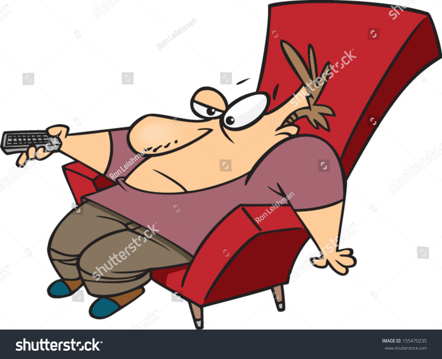 Lazy Cartoon Man Sitting Chair Remote Stock Vector