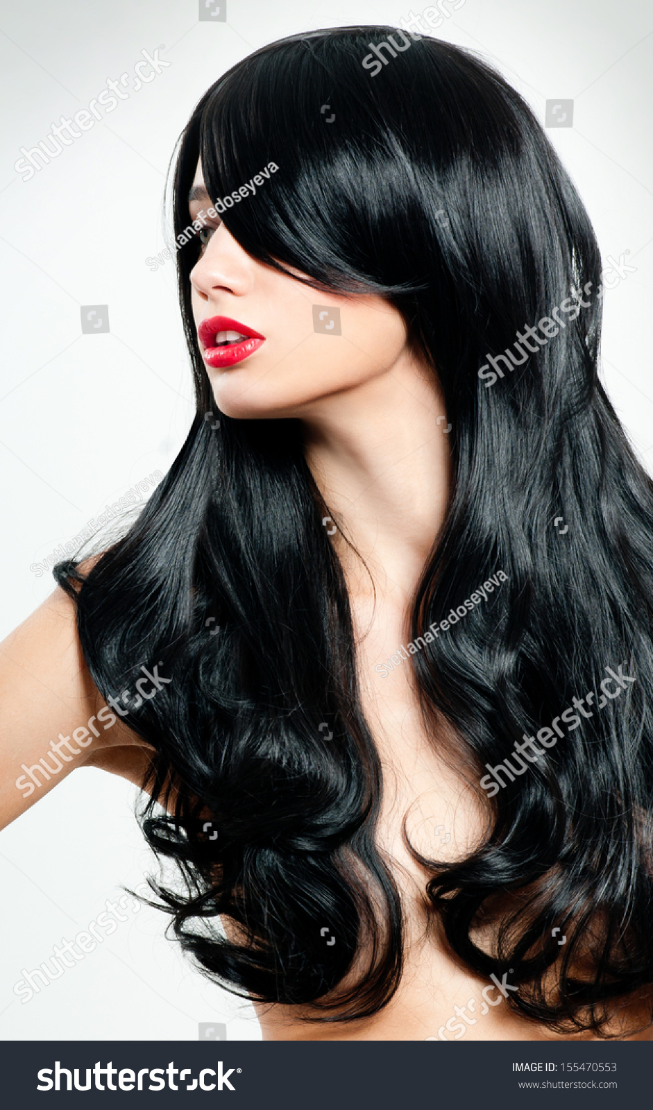 Black Hair. Fashion Girl Portrait. Long Hair And Red Lipstick. Stock Photo 155470553  Shutterstock