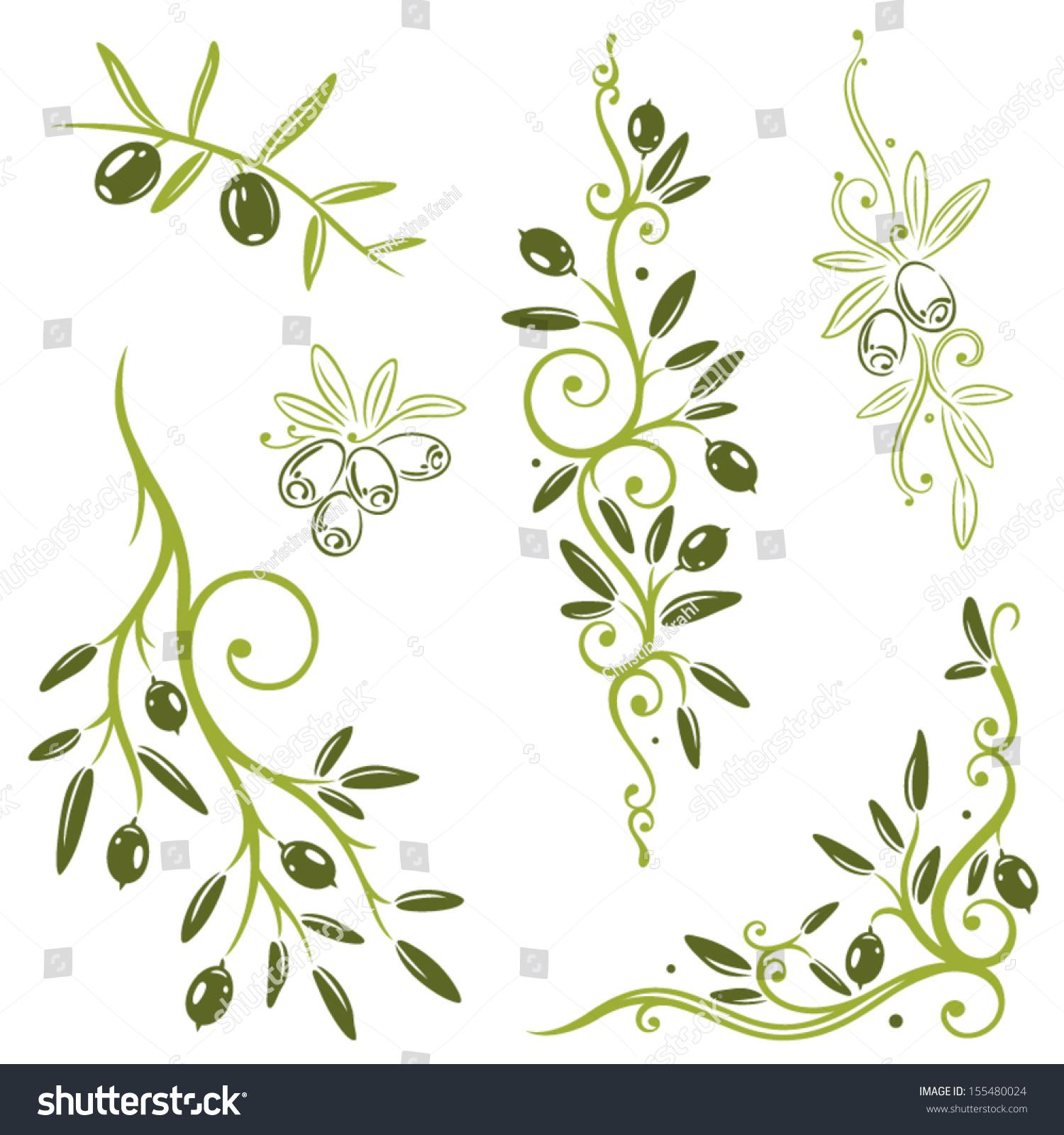 Colorful olive vector set kitchen design stock vector for Kitchen design vector