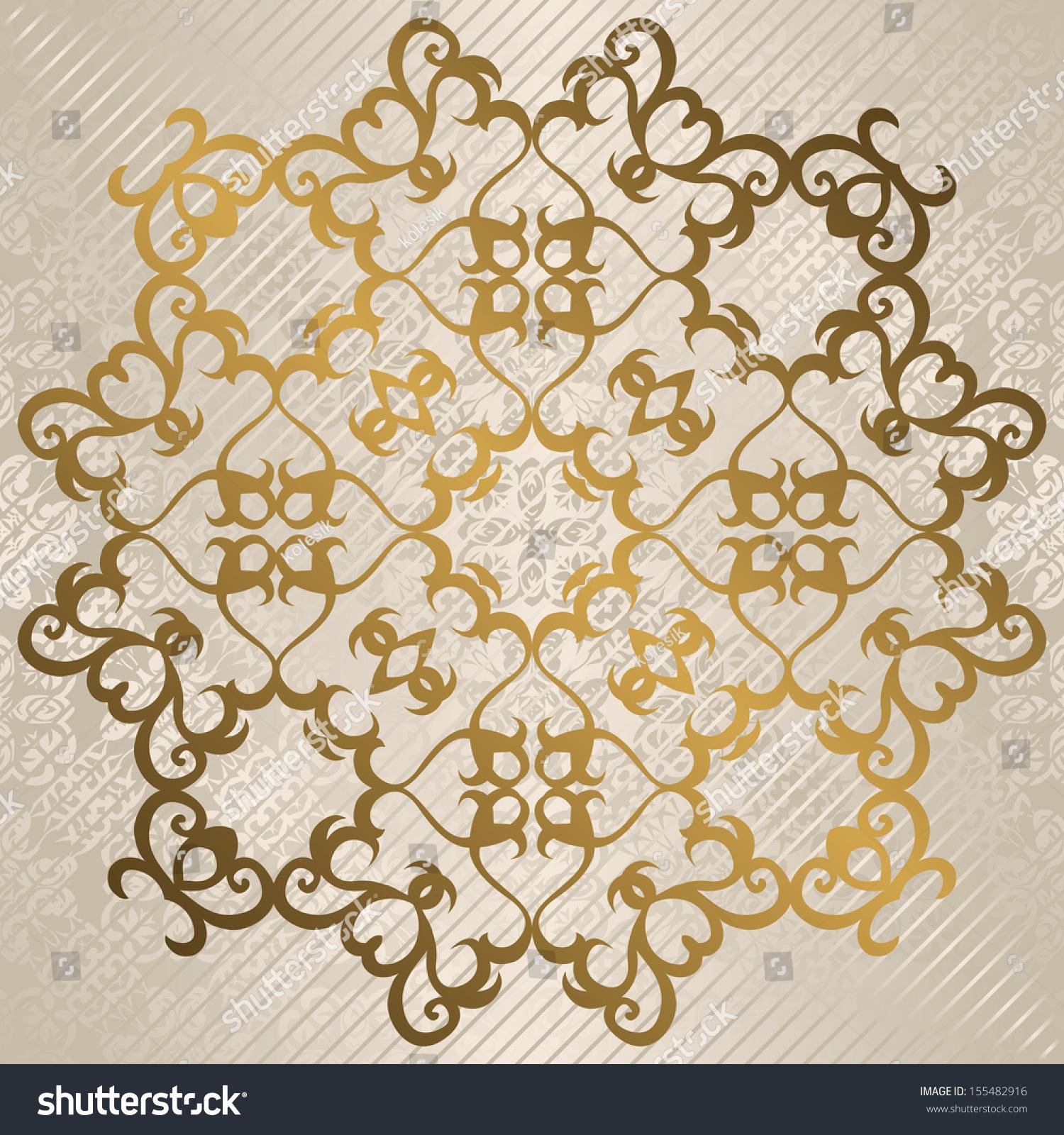elegant round vintage pattern in gold light background