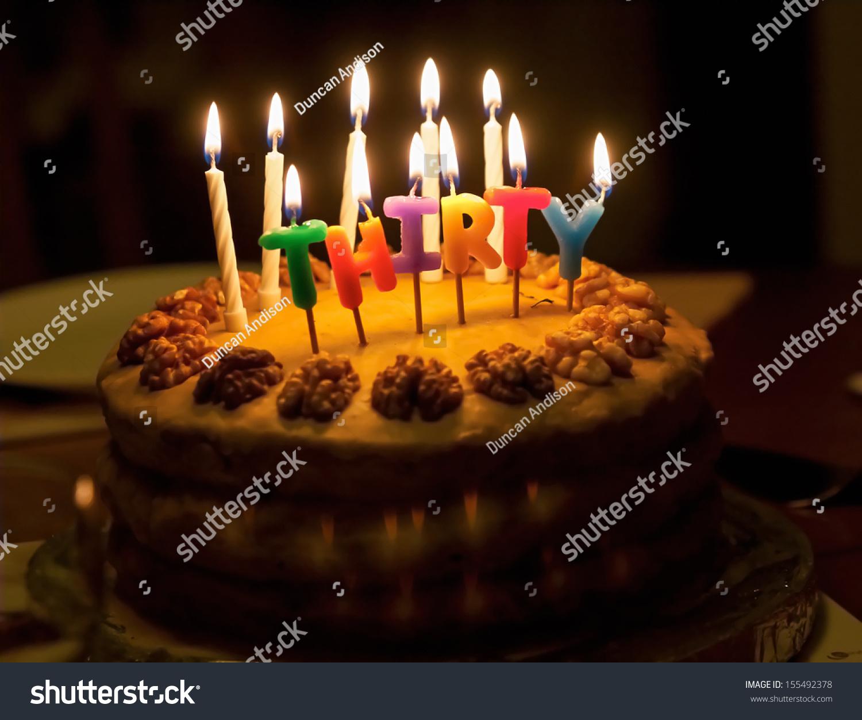 Birthday Cake Lit Candles Spelling Thirty Stock Photo 155492378 ...
