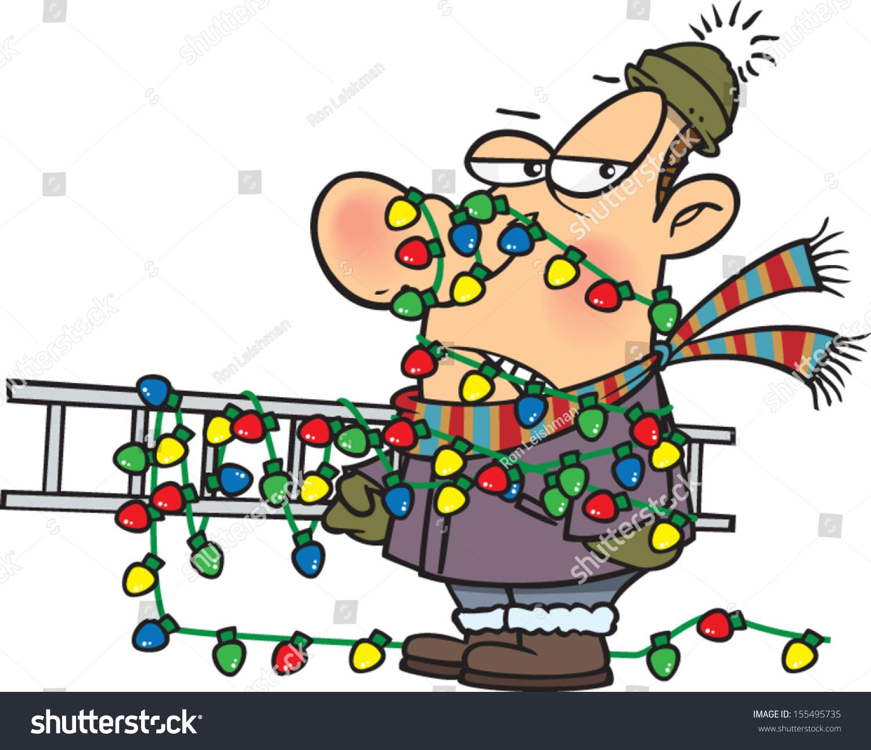 Annoyed cartoon man tangled ladder christmas stock vector