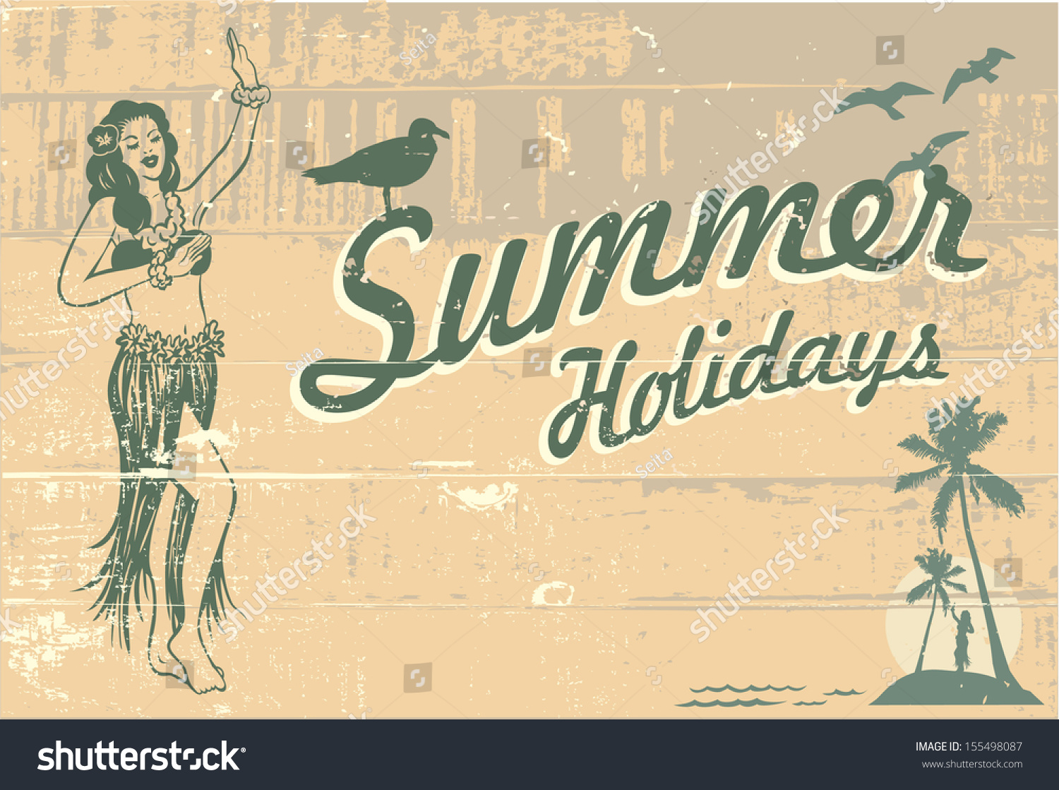 retro summer holidays sign