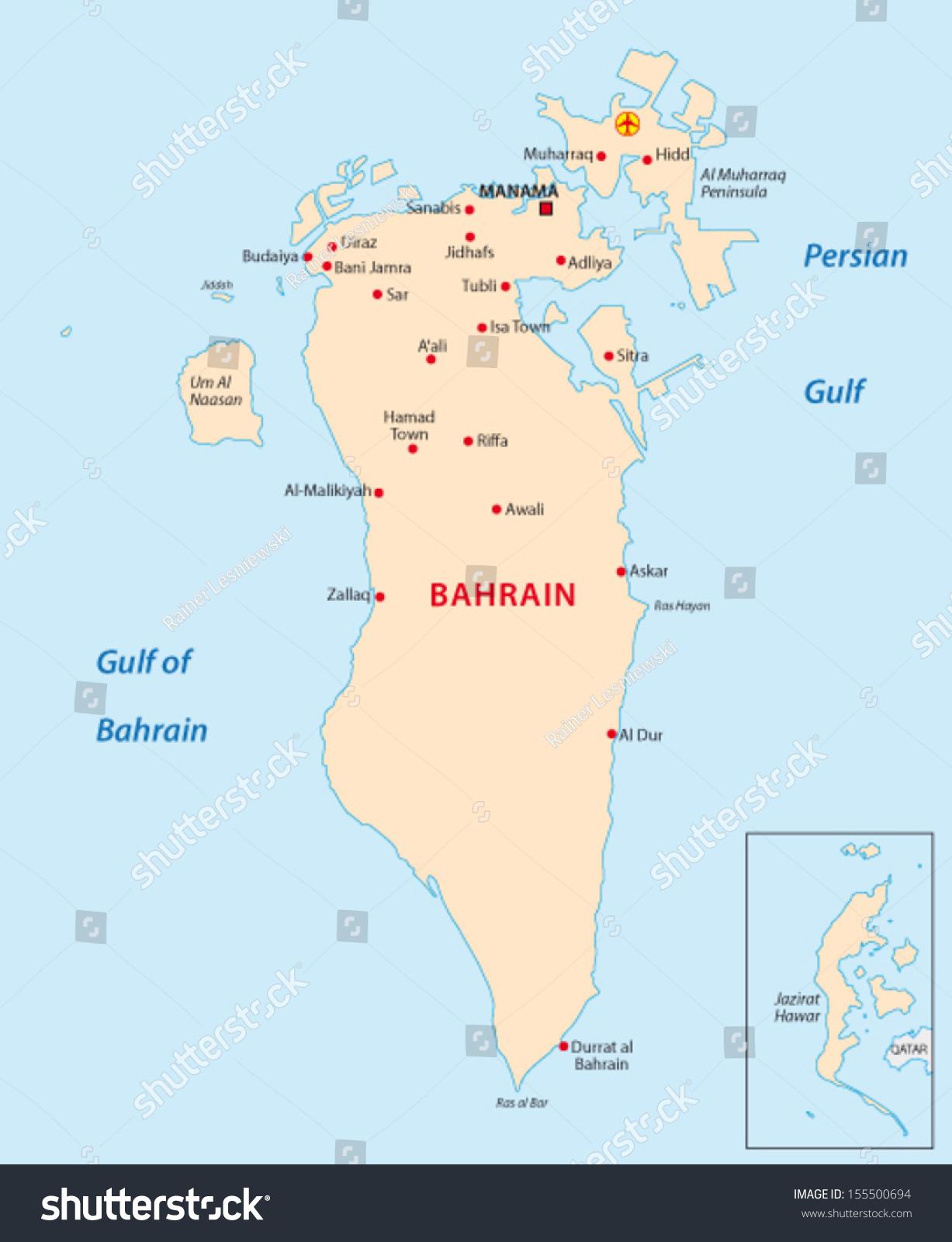 Bahrain Map Stock Vector Shutterstock - Bahrain map