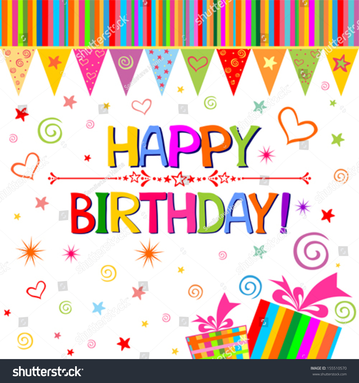 Happy Birthday Card. Celebration White Background With