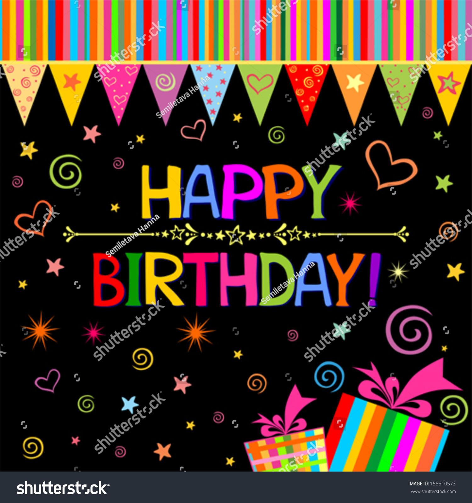 Happy Birthday Card. Celebration Black Background With