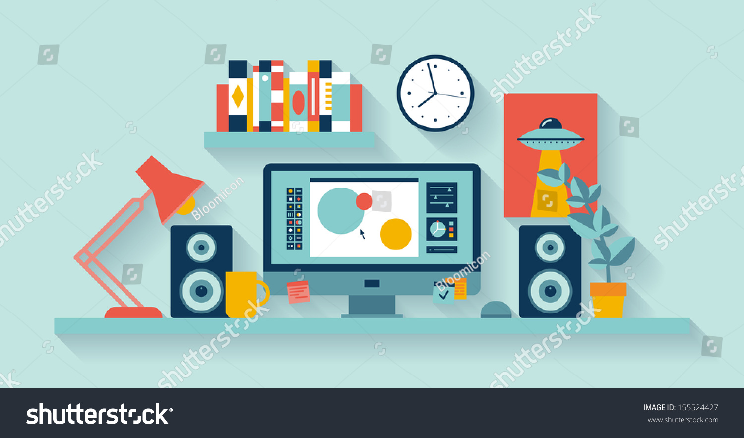 Flat design vector illustration modern office stock vector for Interior design application for pc