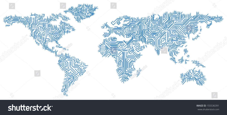 vector eps 10 digital world map stock vector 155536391 shutterstock
