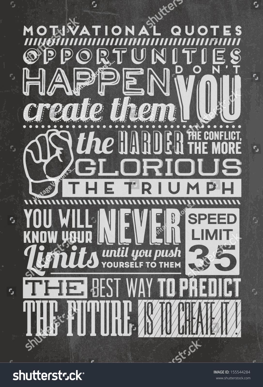 Futures Quotes Set Retro Vintage Motivational Quotes Calligraphic Stock Vector