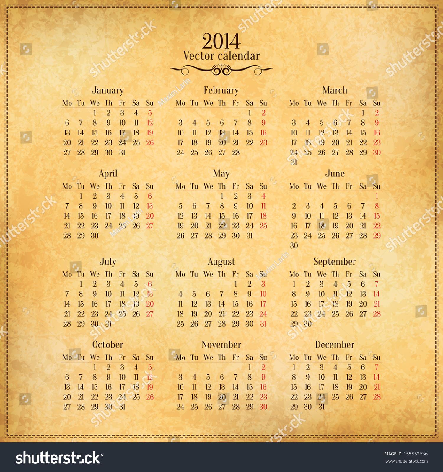 Calendar Vintage Vector : Vector calendar template on old vintage paper