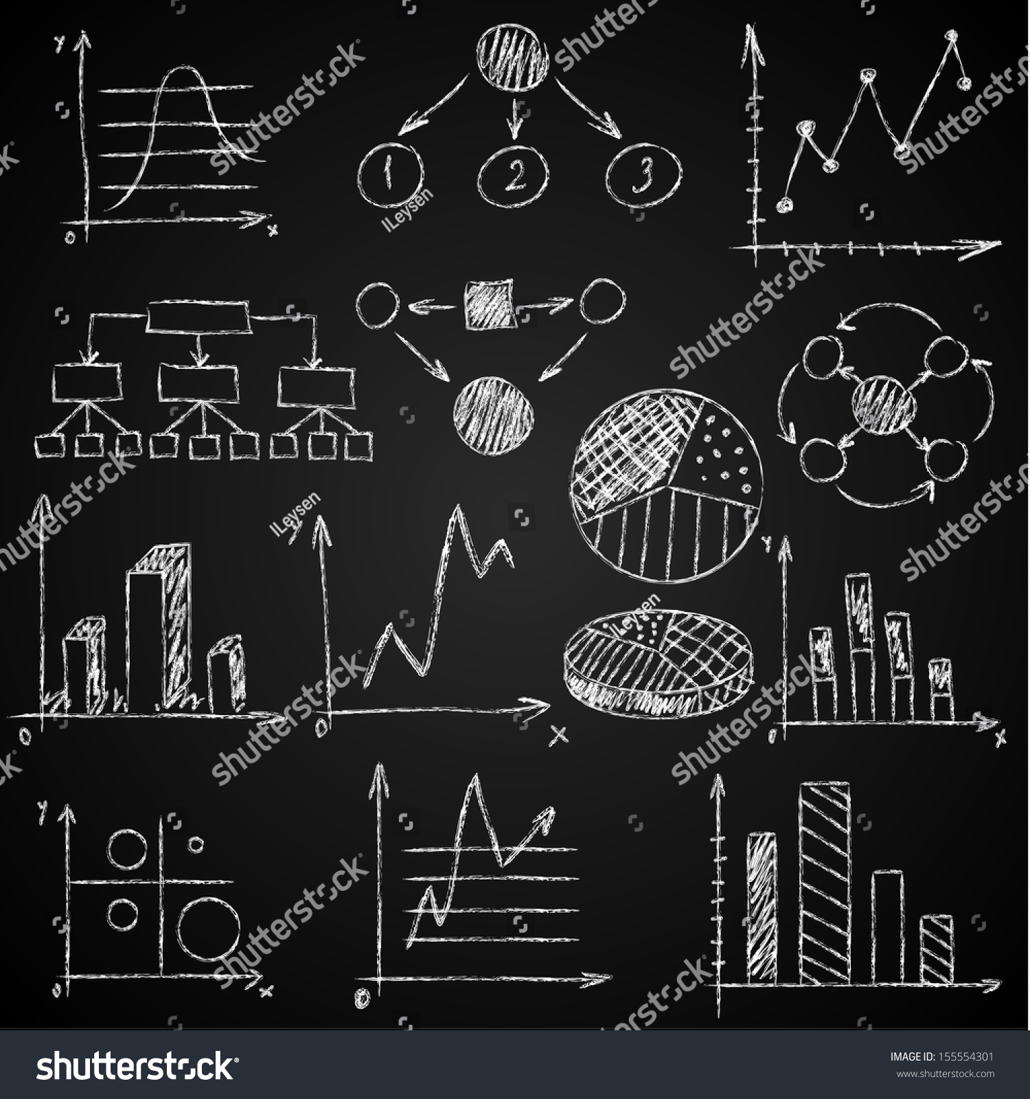 Handdrawn Diagrams On Blackboard Background Stock Vector
