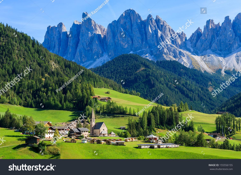 Green valley santa maddalena village church stock photo for Green italy