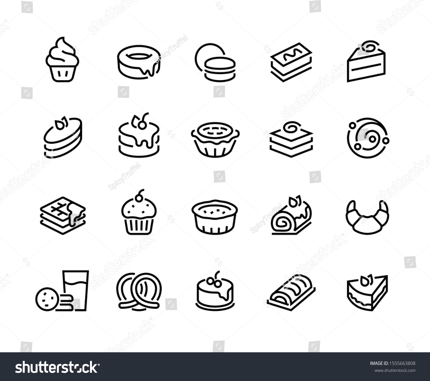Cakes and cookies line icons. Bakery and sweet food pictogram, croissant donuts cupcakes cookies brownies and pies. Vector illustration confectionery dessert products line icon set