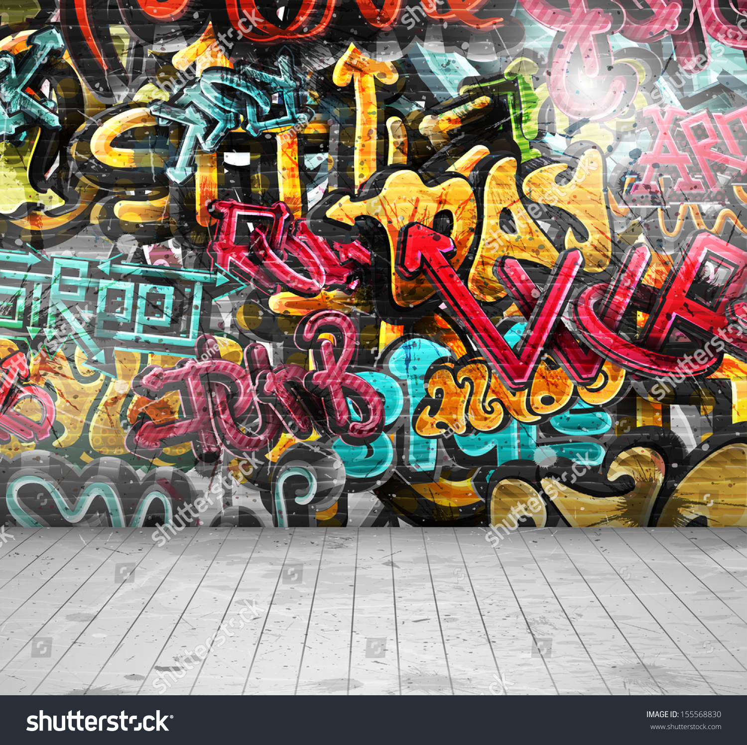 Graffiti On Wallillustration Contains Transparency