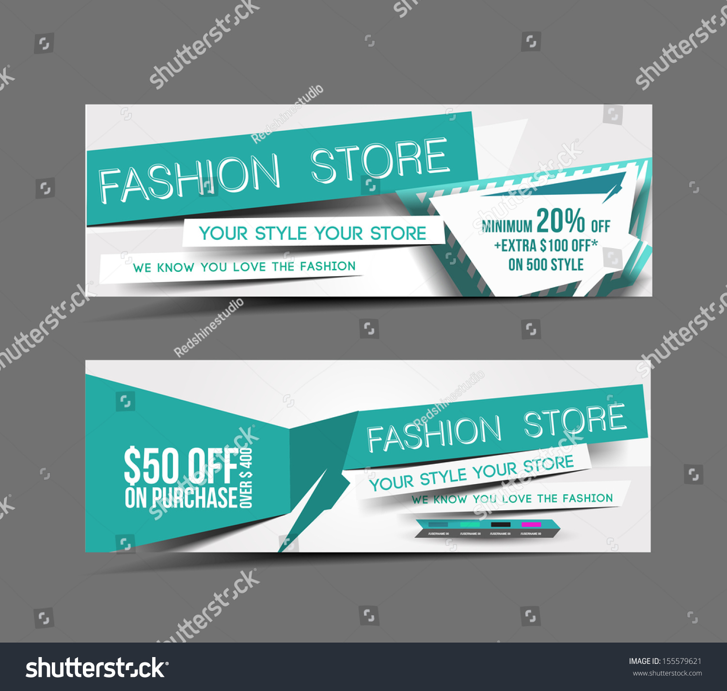 fashion store web banner header layout stock vector 155579621 shutterstock. Black Bedroom Furniture Sets. Home Design Ideas