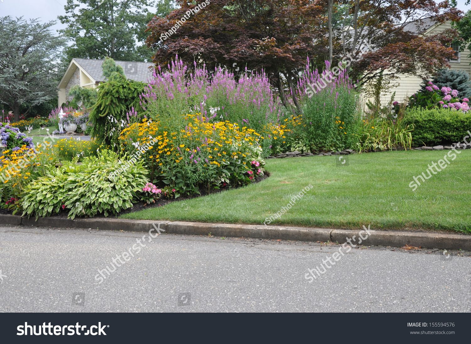 Front yard flower gardens - Suburban Home Flower Garden Front Yard Lawn Curb Residential Neighborhood Usa