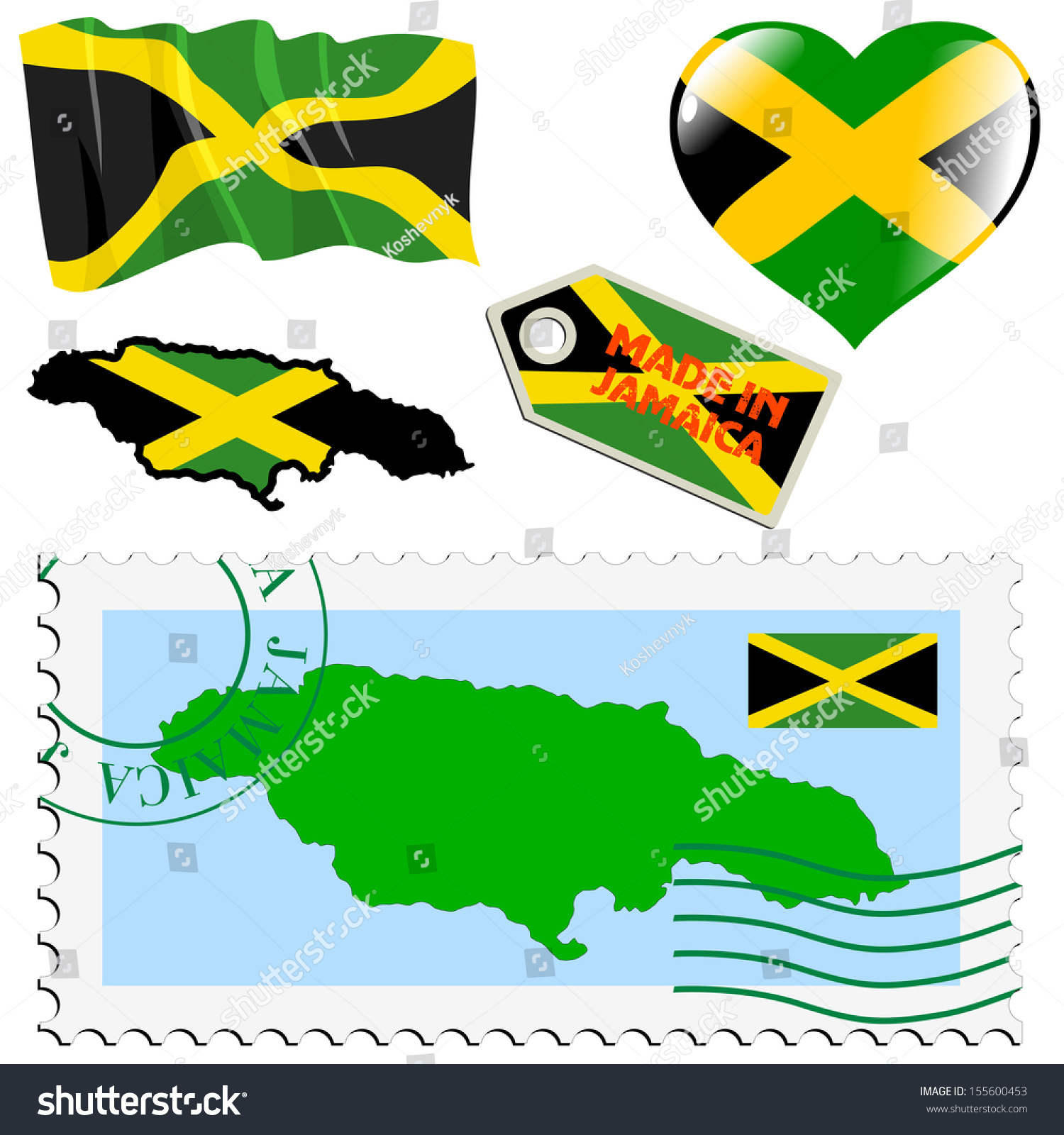 Set Different Symbols National Colours Jamaica Stock Vector Royalty