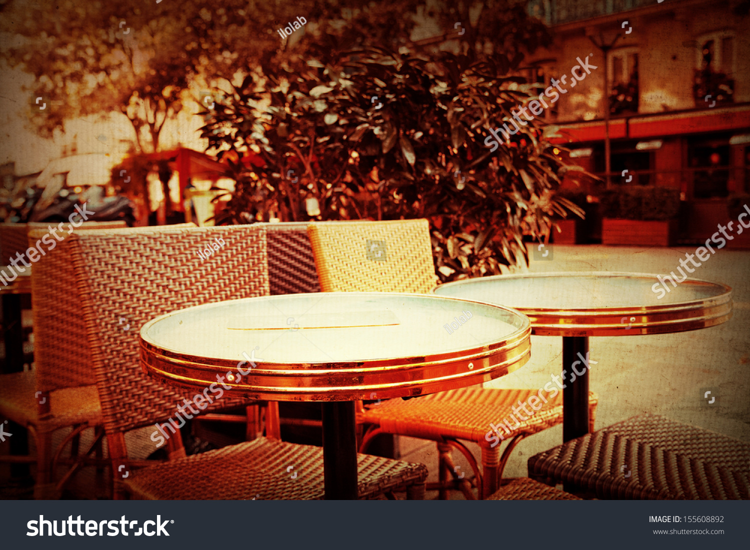 Oldfashioned Coffee Terrace Tables Chairsparis France Stock Photo 155608892 Shutterstock