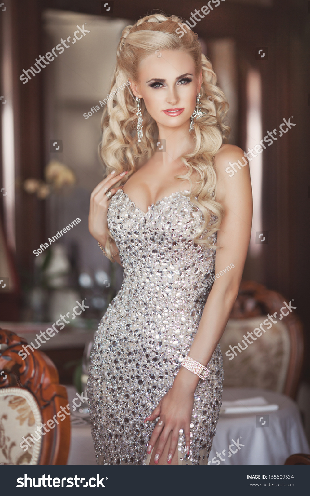 Beautiful Sexy Woman Luxury Interior Glamour Stock Photo