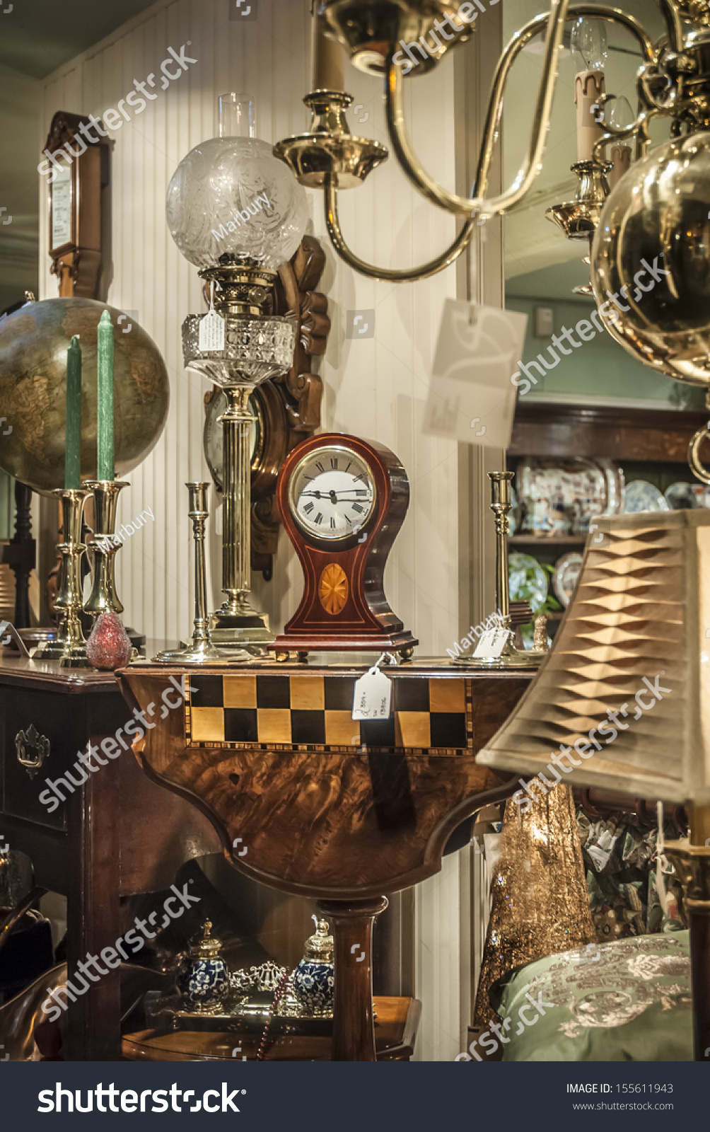 Various Antiques Sale Viewed Through Shop Stock Photo (Royalty Free ...