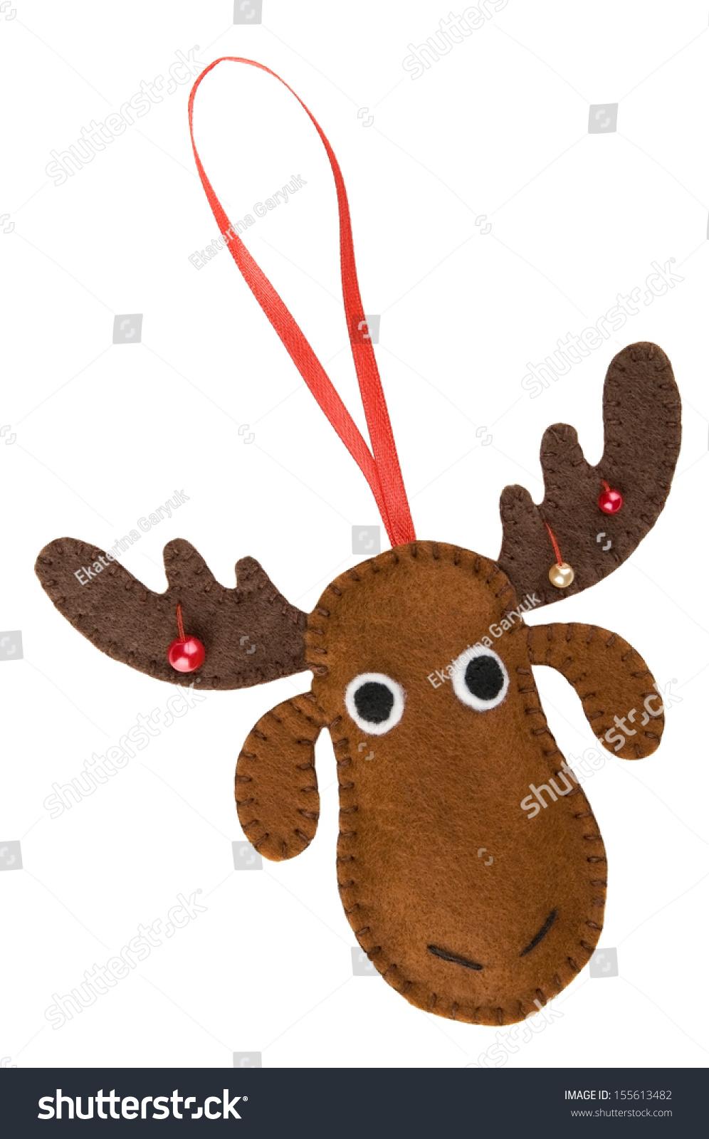 handmade christmas decorations felt christmas moose isolated on white