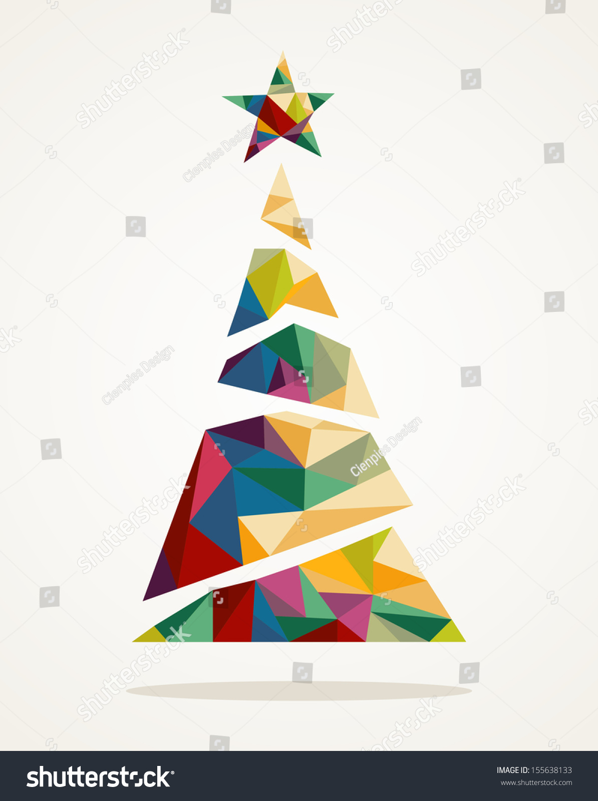 Isolated merry christmas colorful abstract tree stock for Abstract decoration