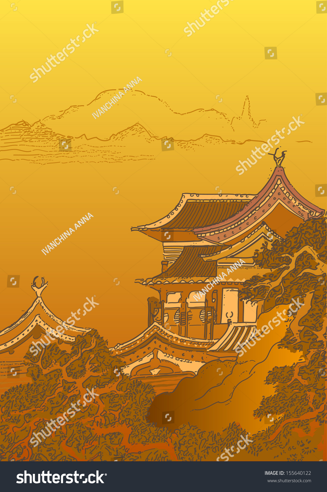 Abstract Chinese Landscape Stock Vector (Royalty Free) 155640122 ...