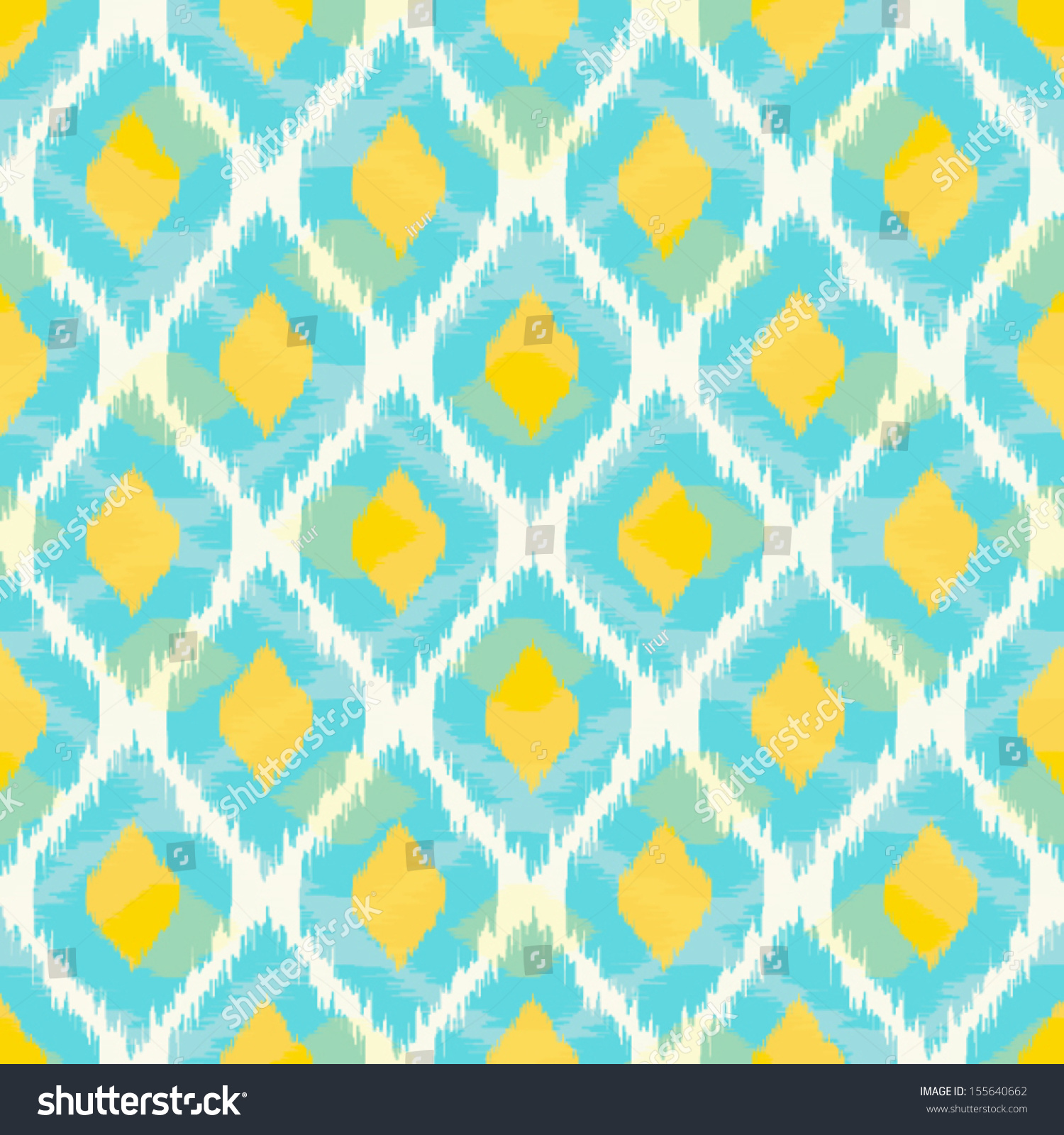 Modern Tribal Ikat Blue Yellow Fashion Stock Vector
