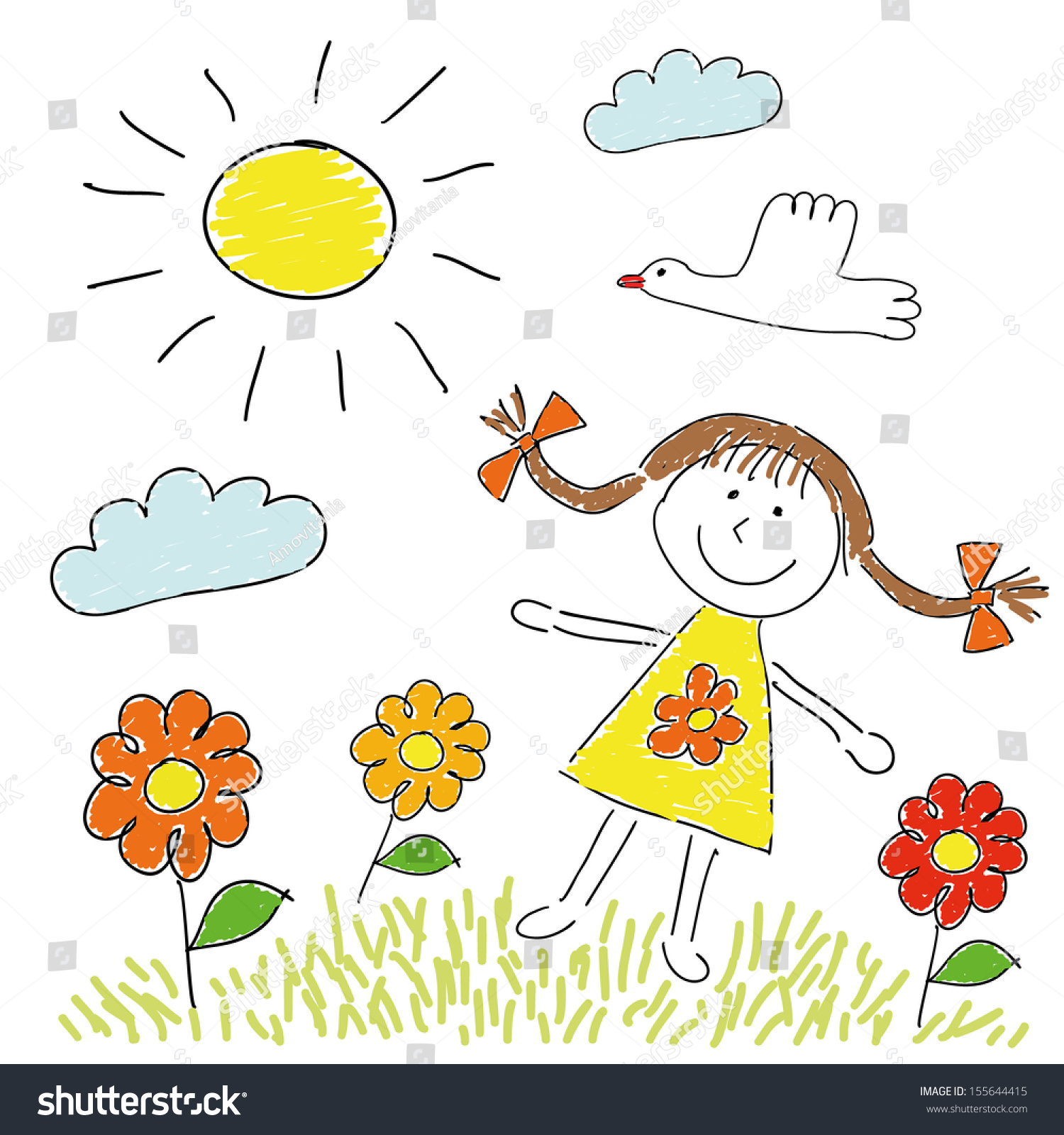 Line Drawing Sunny Day : Childish cartoon drawing girl on meadow stock vector