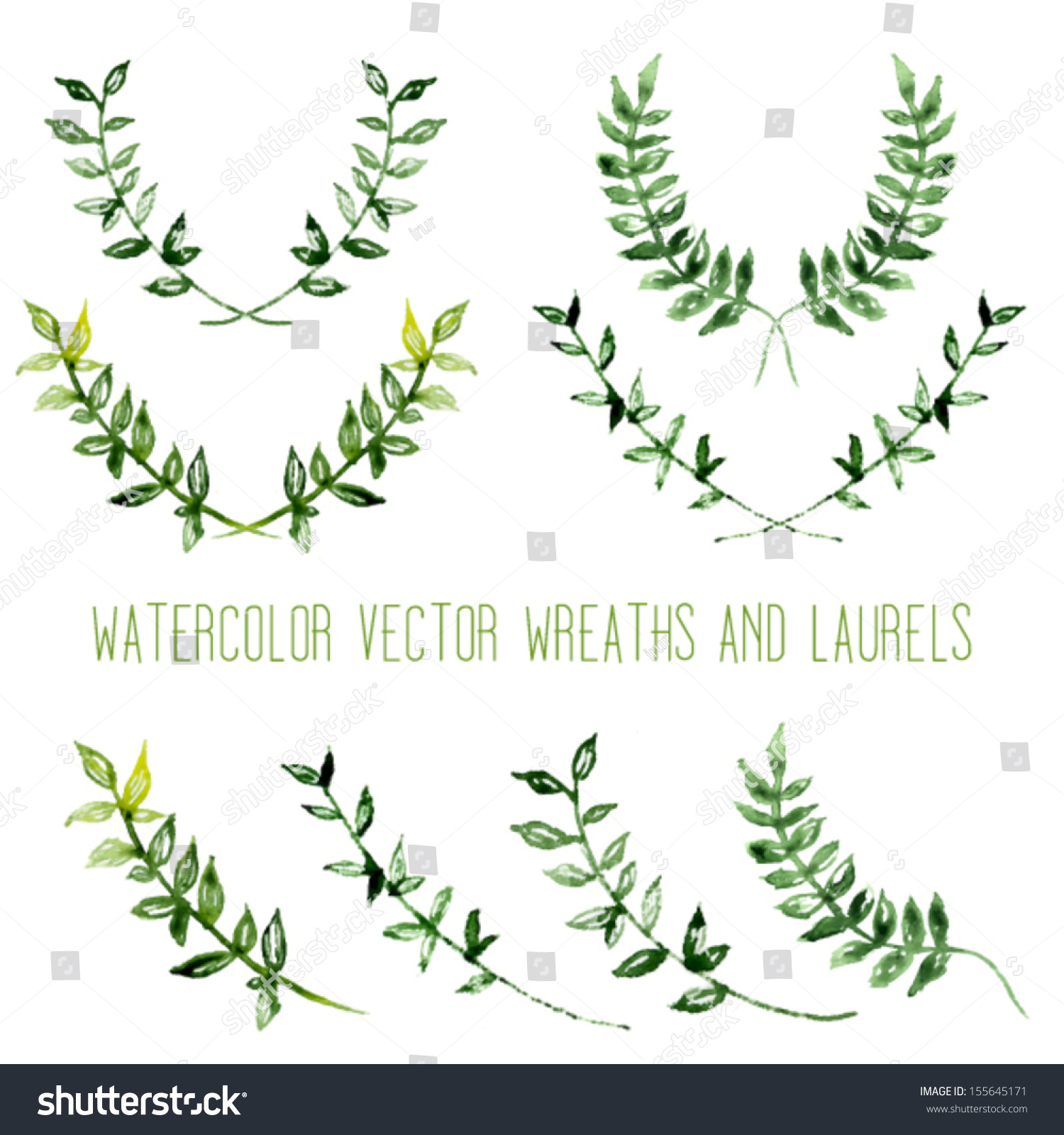 Of Wreaths Watercolor Vintage Floral Trendy Set Wreaths Stock Vector