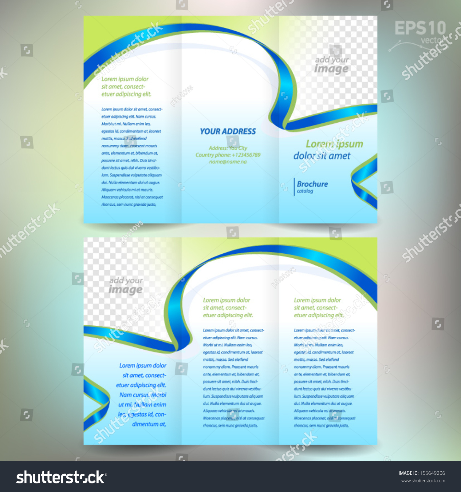 Brochure Folder Leaflet Ribbon Element Band Stock Vector 155649206 ...