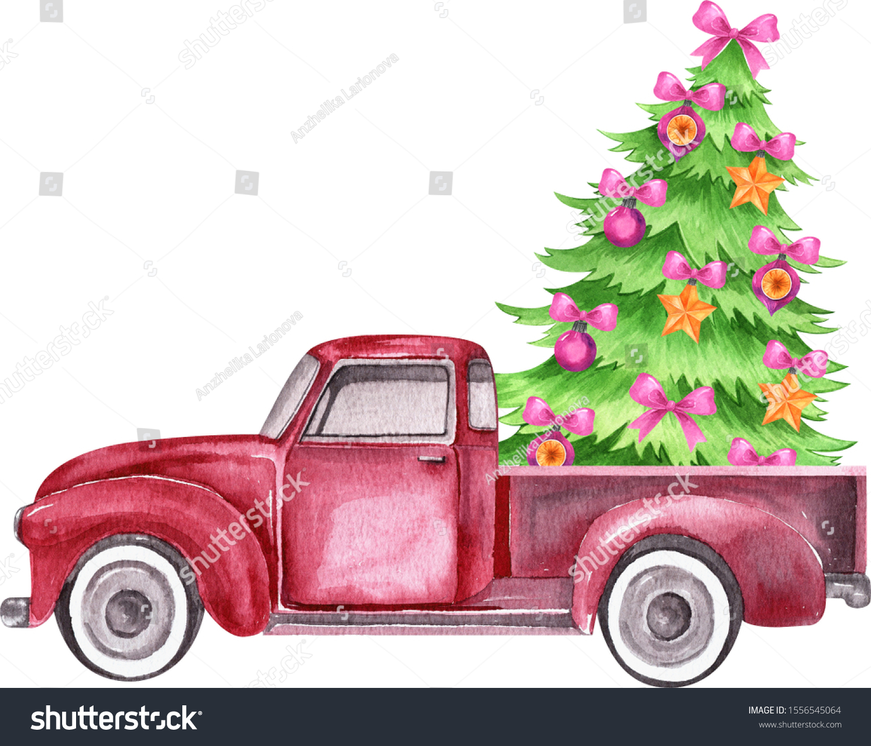 Christmas Red Retro Truck Christmas Tree Stock Illustration 1556545064
