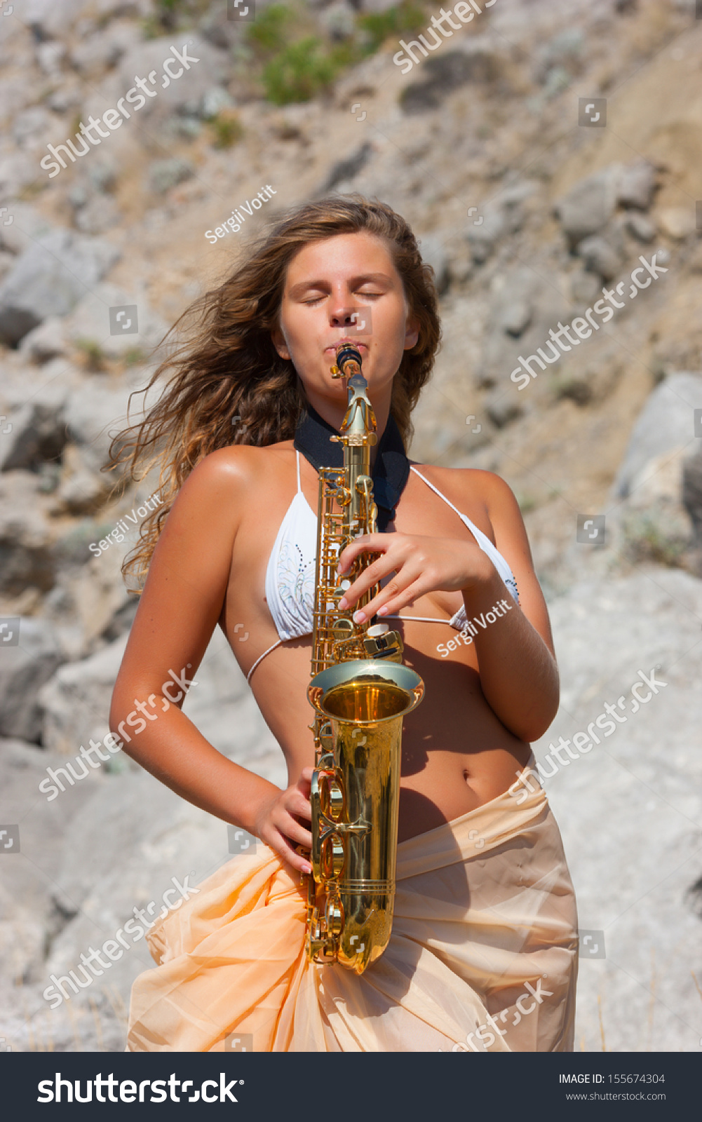 Girl Playing Saxophone Sax Beach Stock Photo 155674304 -9170