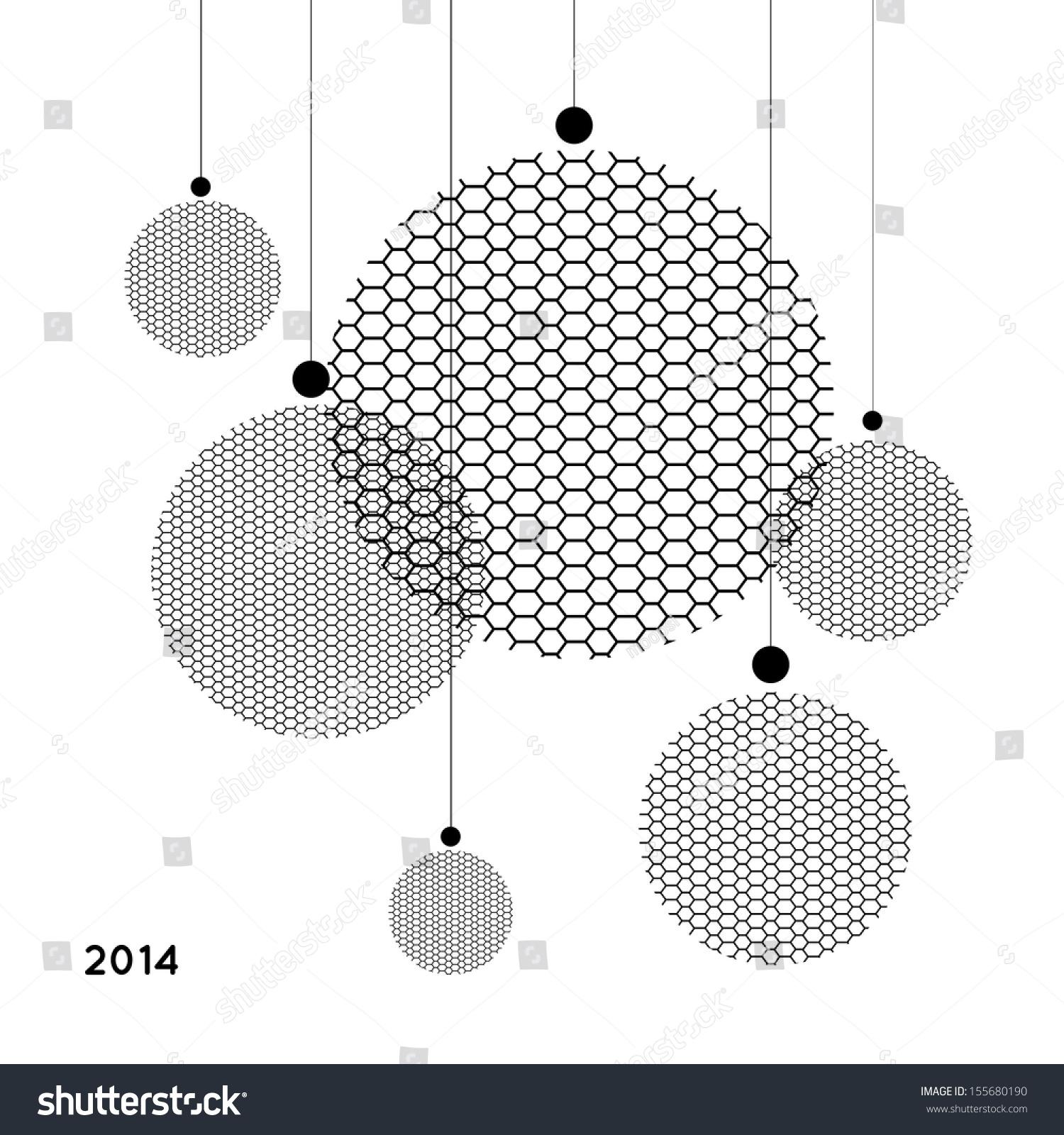 Christmas minimalist balls greeting card 2014 stock vector for Minimalist christmas